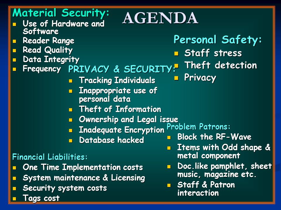 AGENDA Material Security: Use of Hardware and Software Use of Hardware and Software Reader Range Reader Range Read Quality Read Quality Data Integrity