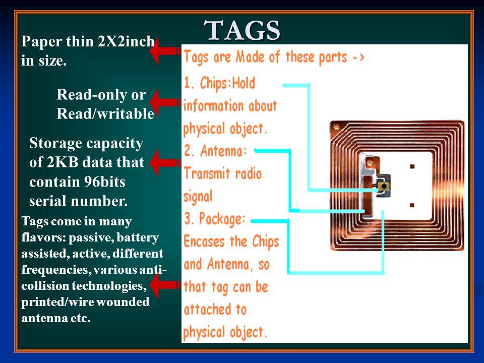 TAGS Paper thin 2X2inch in size. Read-only or Read/writable Storage capacity of 2KB data that contain 96bits serial number. Tags come in many flavors: