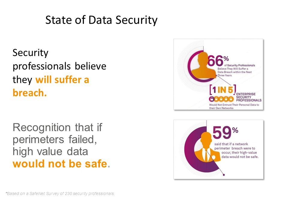 State of Data Security Security professionals believe they will suffer a breach.