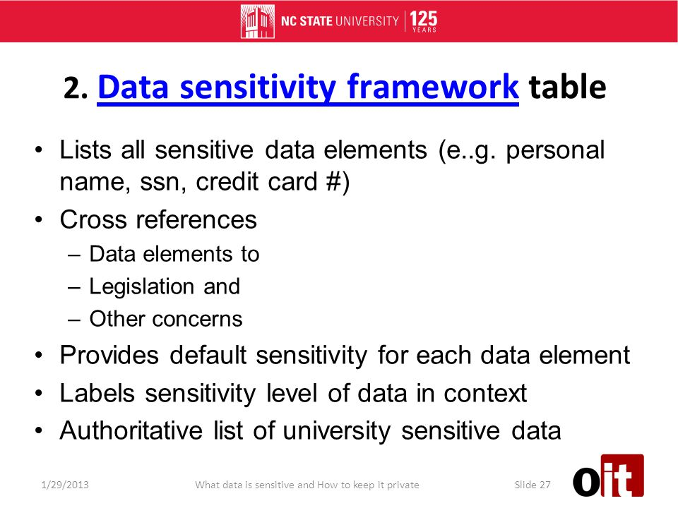 2. Data sensitivity framework table Data sensitivity framework Lists all sensitive data elements (e..g. personal name, ssn, credit card #) Cross refer