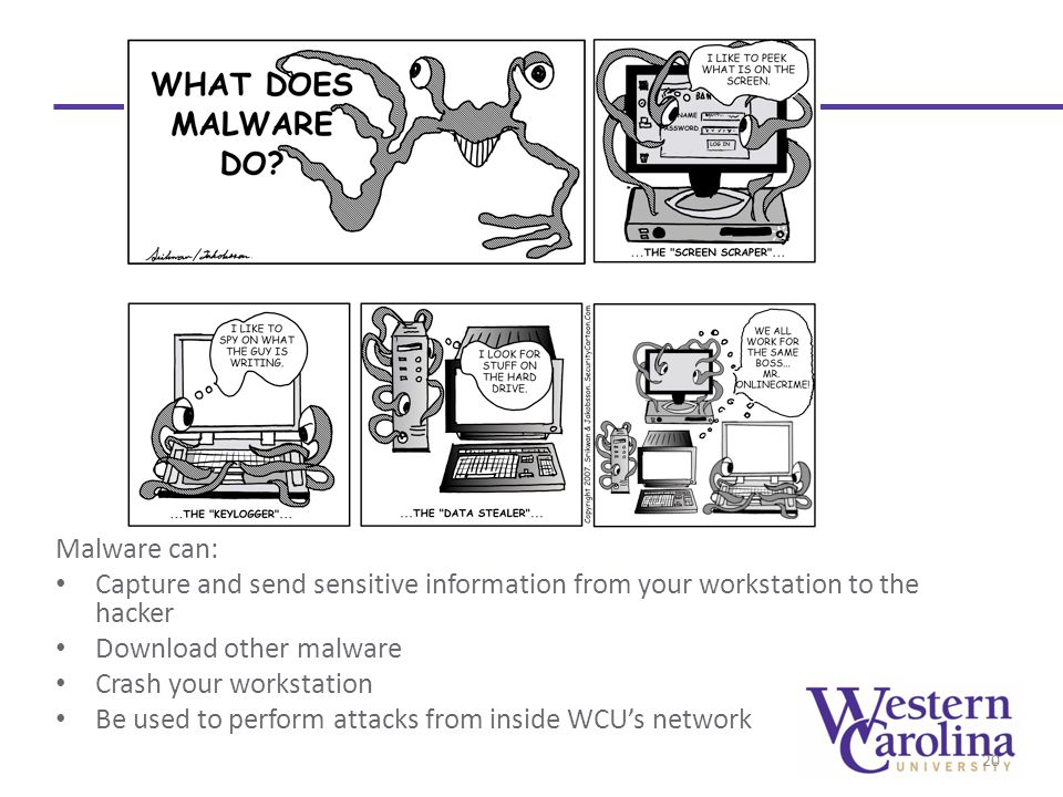 Malware can: Capture and send sensitive information from your workstation to the hacker Download other malware Crash your workstation Be used to perform attacks from inside WCU's network 20