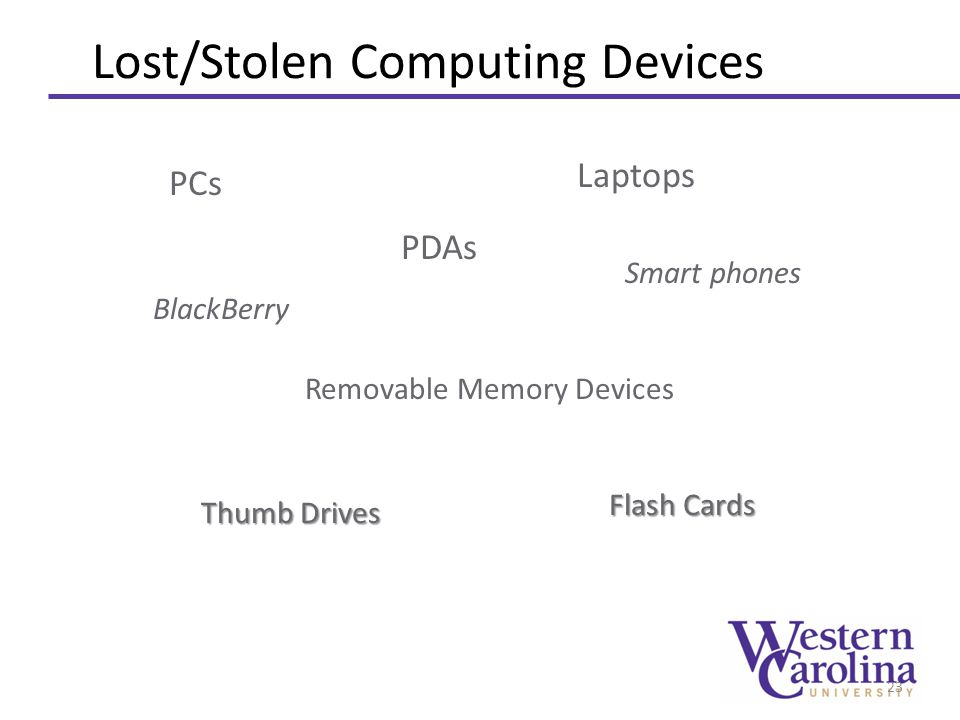 Lost/Stolen Computing Devices 23 Removable Memory Devices PDAs Laptops BlackBerry PCs Smart phones Thumb Drives Flash Cards