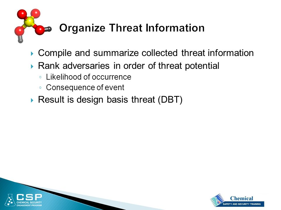  Compile and summarize collected threat information  Rank adversaries in order of threat potential ◦ Likelihood of occurrence ◦ Consequence of event  Result is design basis threat (DBT)