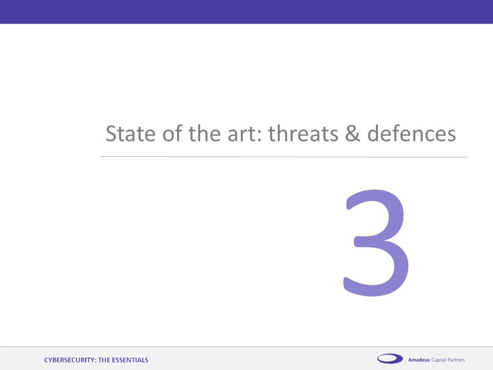 AmadeusCybersecurity: the essentials12 th November 2014 3 State of the art: threats & defences CYBERSECURITY: THE ESSENTIALS