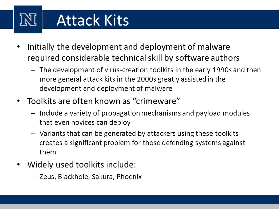 Attack Kits Initially the development and deployment of malware required considerable technical skill by software authors – The development of virus-c
