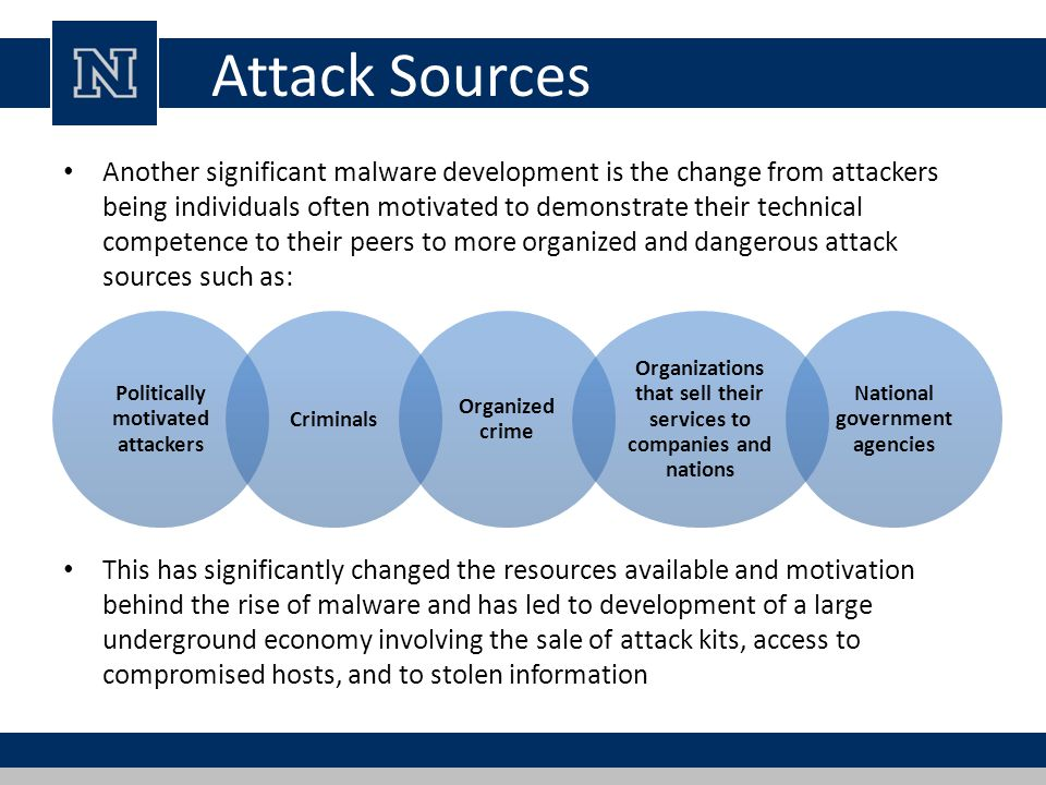 Attack Sources Another significant malware development is the change from attackers being individuals often motivated to demonstrate their technical c