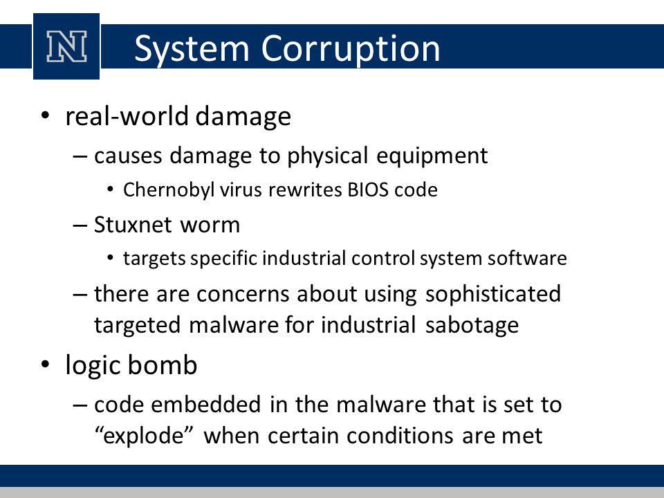 System Corruption real-world damage – causes damage to physical equipment Chernobyl virus rewrites BIOS code – Stuxnet worm targets specific industria