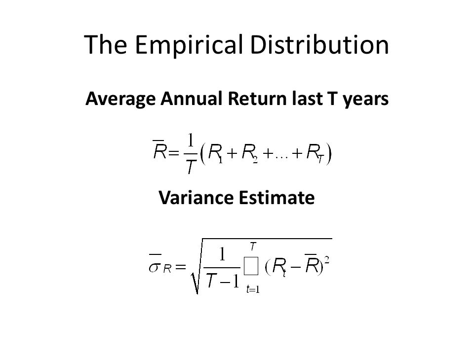 The Empirical Distribution Average Annual Return last T years Variance Estimate