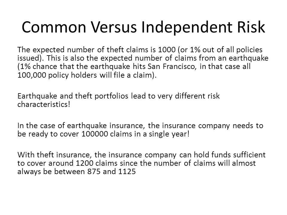 Common Versus Independent Risk The expected number of theft claims is 1000 (or 1% out of all policies issued). This is also the expected number of cla