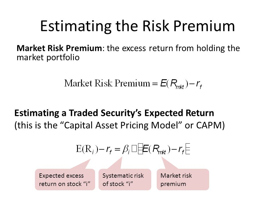 Estimating the Risk Premium Market Risk Premium: the excess return from holding the market portfolio Estimating a Traded Security's Expected Return (t