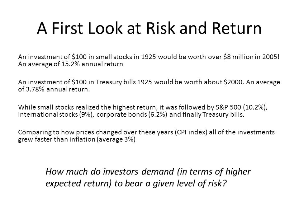 A First Look at Risk and Return An investment of $100 in small stocks in 1925 would be worth over $8 million in 2005! An average of 15.2% annual retur
