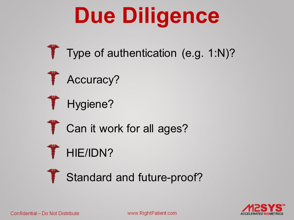 Confidential – Do Not Distribute www.RightPatient.com Due Diligence Type of authentication (e.g.
