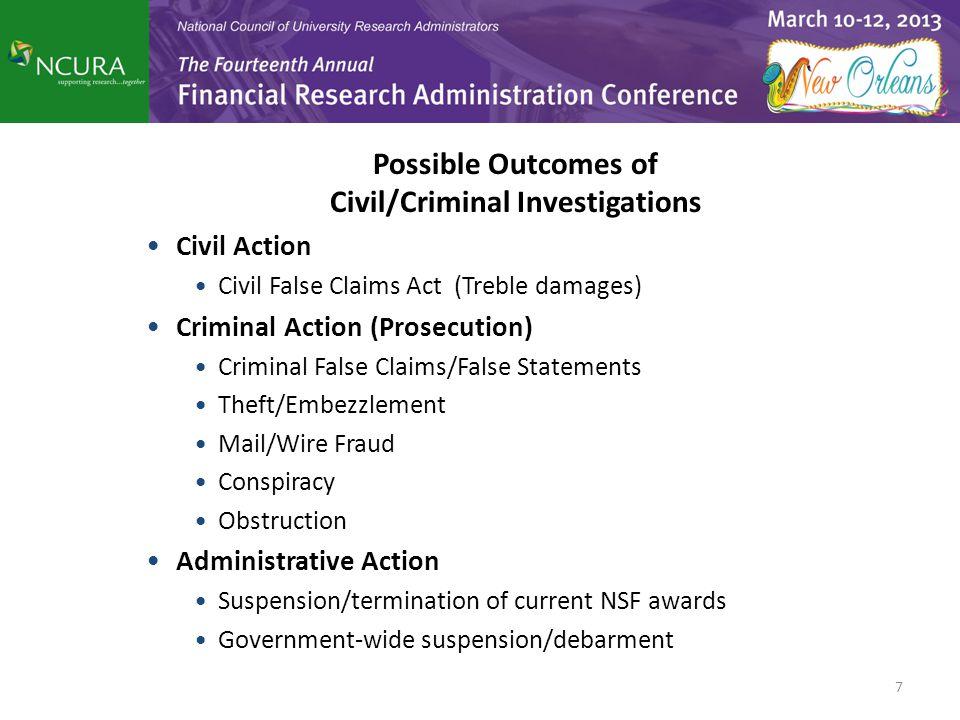 Possible Outcomes of Civil/Criminal Investigations Civil Action Civil False Claims Act (Treble damages) Criminal Action (Prosecution) Criminal False C