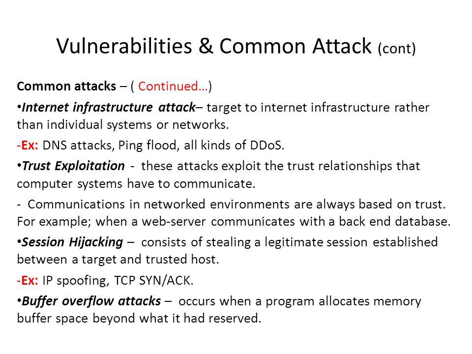 Vulnerabilities & Common Attack (cont) Common attacks – ( Continued…) Internet infrastructure attack– target to internet infrastructure rather than in