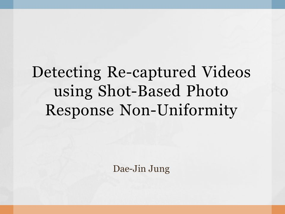  Automatic recaptured video detection Uses the shot based PRNU Good results Recompressed Resized  Still weak against severe attacks Conclusion 22