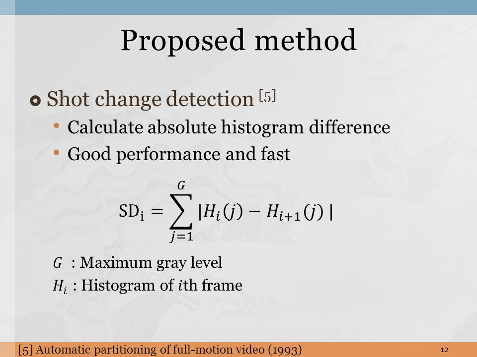 Proposed method 12 [5] Automatic partitioning of full-motion video (1993)