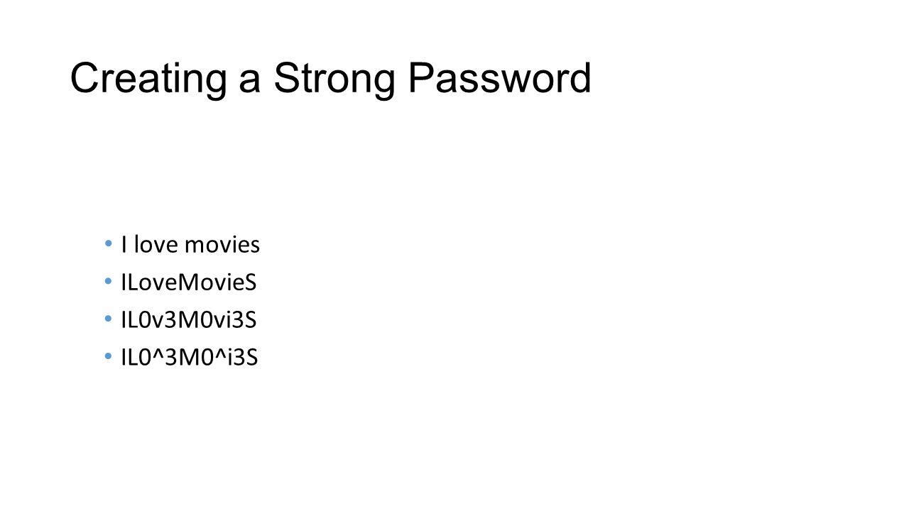 Creating a Strong Password ILoveMovieS IL0v3M0vi3S IL0^3M0^i3S I love movies