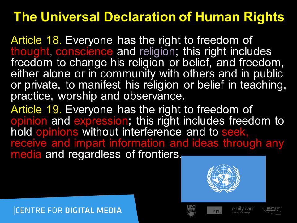 The Universal Declaration of Human Rights Article 18.