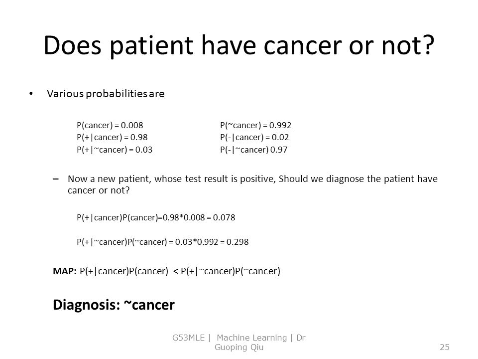 Does patient have cancer or not? Various probabilities are P(cancer) = 0.008P(~cancer) = 0.992 P(+|cancer) = 0.98P(-|cancer) = 0.02 P(+|~cancer) = 0.0