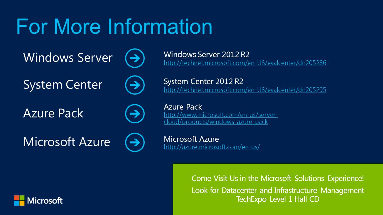 Come Visit Us in the Microsoft Solutions Experience.