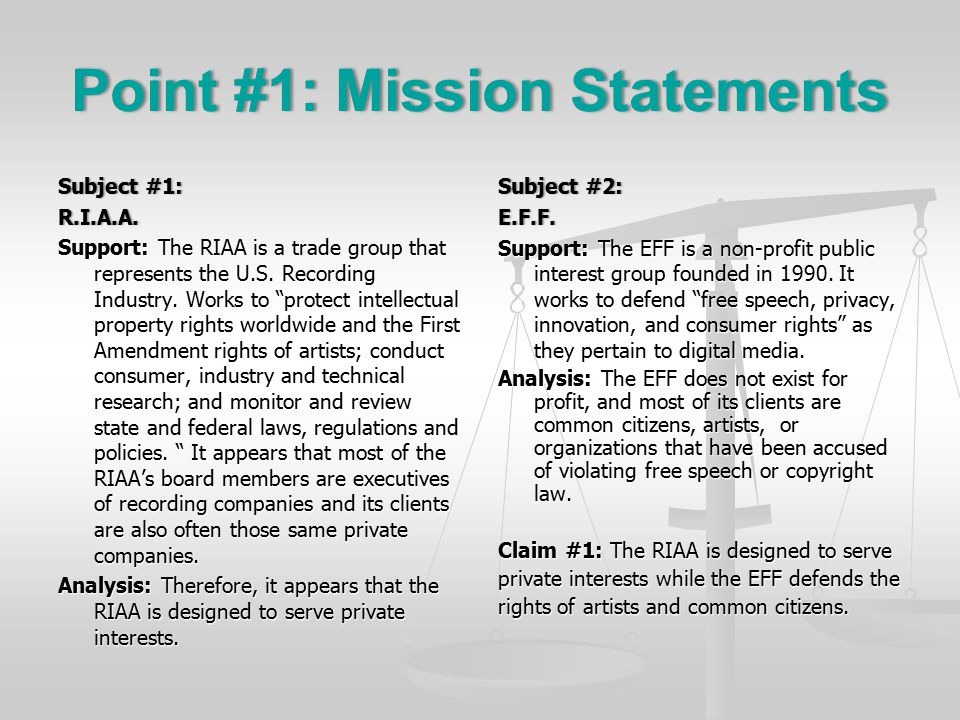 Point #1: Mission StatementsPoint #1: Mission Statements Subject #1:Subject #1:R.I.A.A.