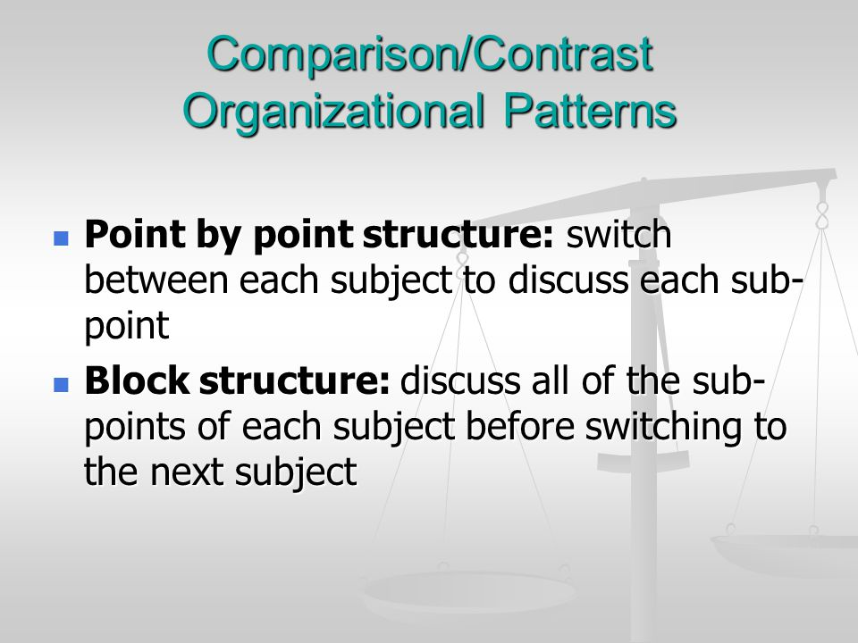 Comparison/Contrast Organizational Patterns Point by point structure: switch between each subject to discuss each sub- point Point by point structure: switch between each subject to discuss each sub- point Block structure: discuss all of the sub- points of each subject before switching to the next subject Block structure: discuss all of the sub- points of each subject before switching to the next subject