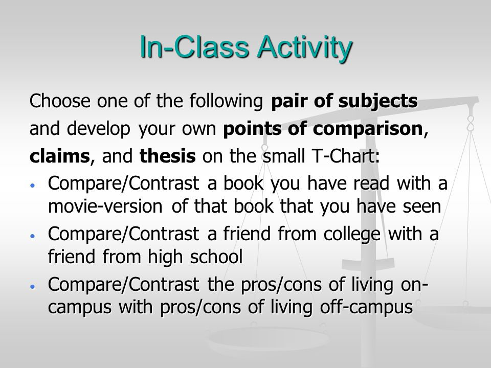 In-Class Activity Choose one of the following pair of subjects and develop your own points of comparison, claims, and thesis on the small T-Chart: Compare/Contrast a book you have read with a movie-version of that book that you have seen Compare/Contrast a book you have read with a movie-version of that book that you have seen Compare/Contrast a friend from college with a friend from high school Compare/Contrast a friend from college with a friend from high school Compare/Contrast the pros/cons of living on- campus with pros/cons of living off-campus Compare/Contrast the pros/cons of living on- campus with pros/cons of living off-campus