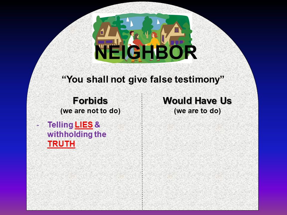 Forbids (we are not to do) Would Have Us (we are to do) You shall not give false testimony NEIGHBOR -Telling LIES & withholding the TRUTH