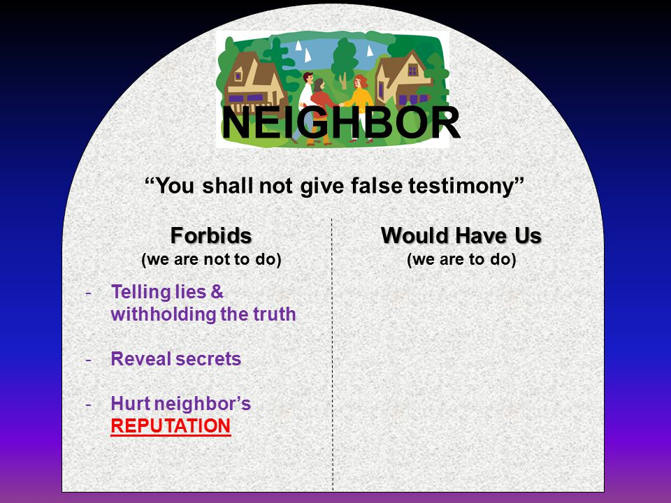 Forbids (we are not to do) Would Have Us (we are to do) You shall not give false testimony NEIGHBOR -Telling lies & withholding the truth -Reveal secrets -Hurt neighbor's REPUTATION
