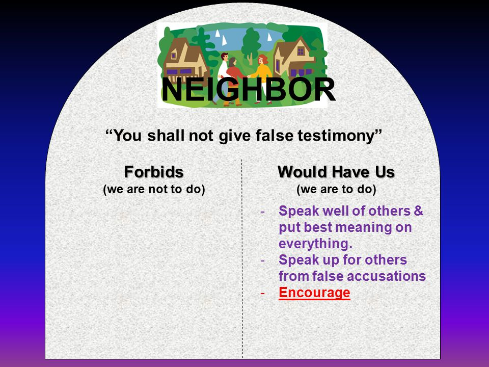 Forbids (we are not to do) Would Have Us (we are to do) You shall not give false testimony NEIGHBOR -Speak well of others & put best meaning on everything.