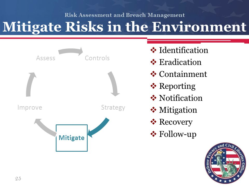 Risk Assessment and Breach Management Mitigate Risks in the Environment Controls Strategy Mitigate Improve Assess  Identification  Eradication  Con
