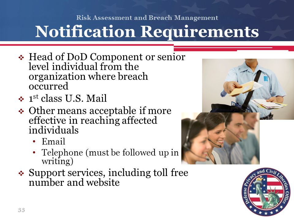 Risk Assessment and Breach Management Notification Requirements  Head of DoD Component or senior level individual from the organization where breach
