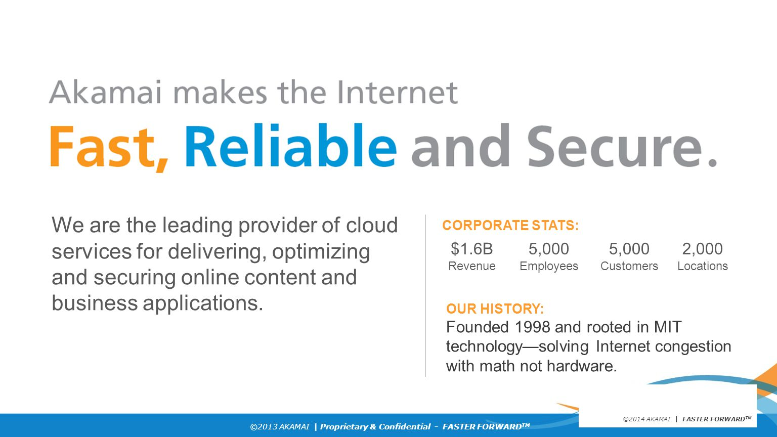 ©2013 AKAMAI | Proprietary & Confidential - FASTER FORWARD TM Grow revenue opportunities with fast, personalized web experiences and manage complexity