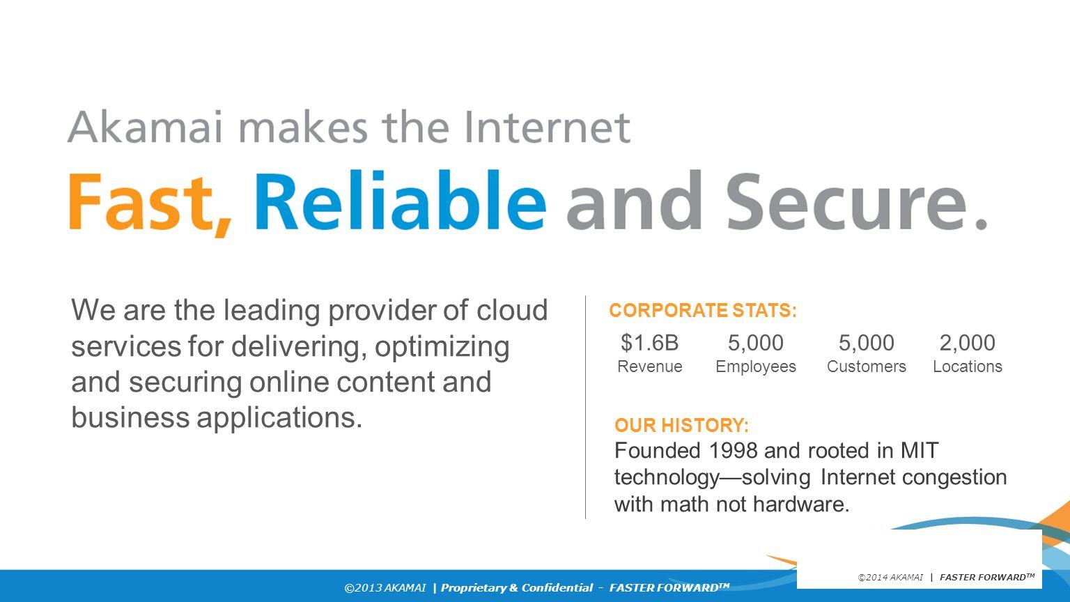 ©2013 AKAMAI | Proprietary & Confidential - FASTER FORWARD TM Latency: Akamaized vs. Internet Route