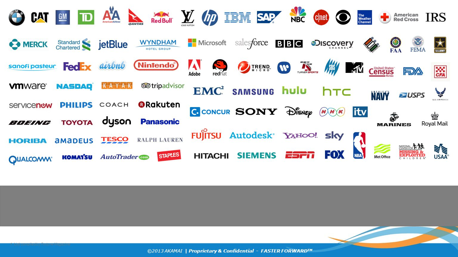 ©2013 AKAMAI | Proprietary & Confidential - FASTER FORWARD TM 1. List compiled by Fortune Magazine
