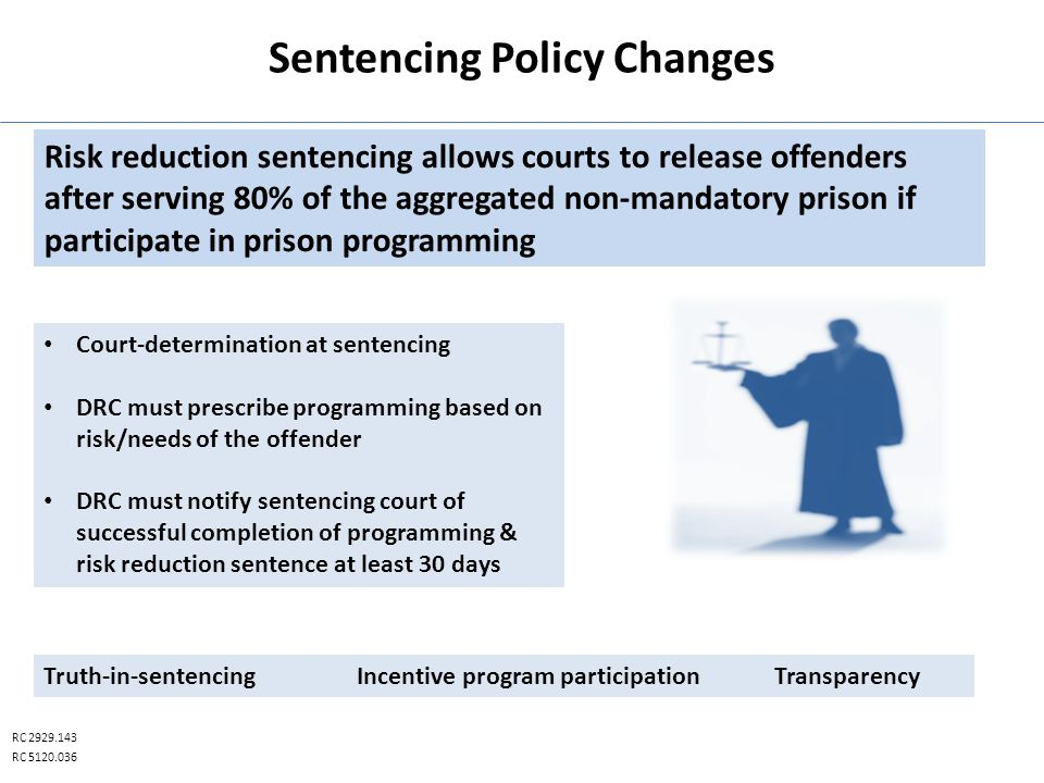 Sentencing Policy Changes RC 2929.143 RC 5120.036 Court-determination at sentencing DRC must prescribe programming based on risk/needs of the offender