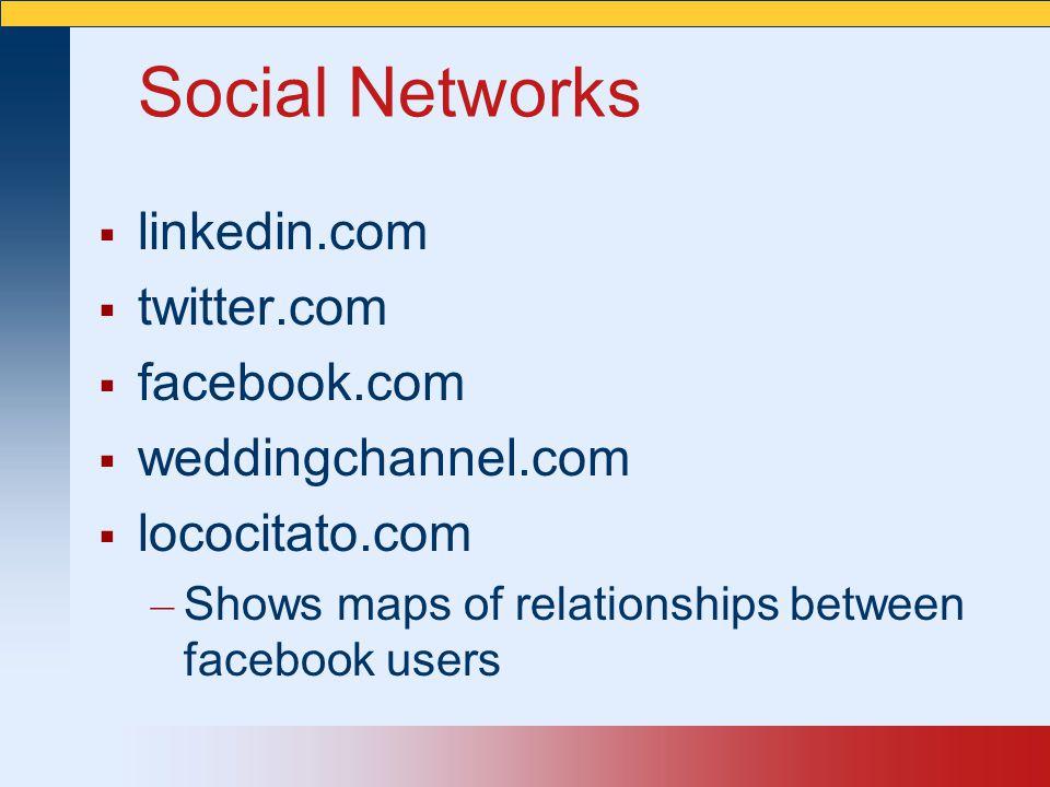 Social Networks  linkedin.com  twitter.com  facebook.com  weddingchannel.com  lococitato.com – Shows maps of relationships between facebook users