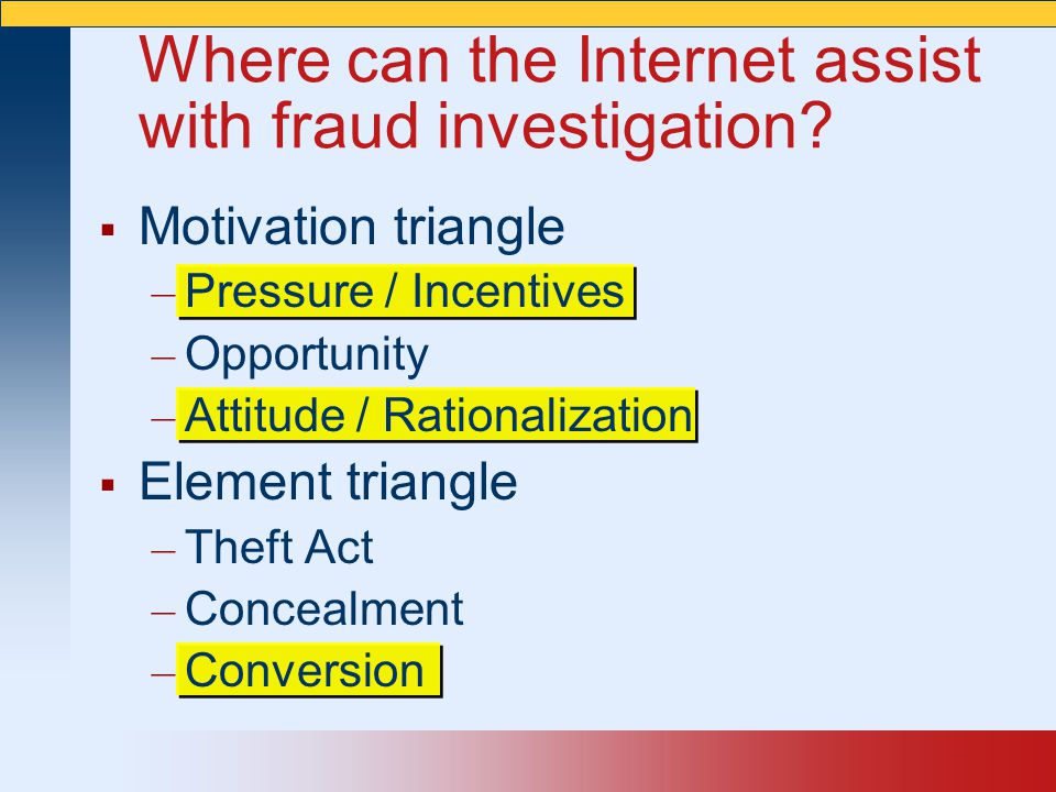  Motivation triangle – Pressure / Incentives – Opportunity – Attitude / Rationalization  Element triangle – Theft Act – Concealment – Conversion Whe