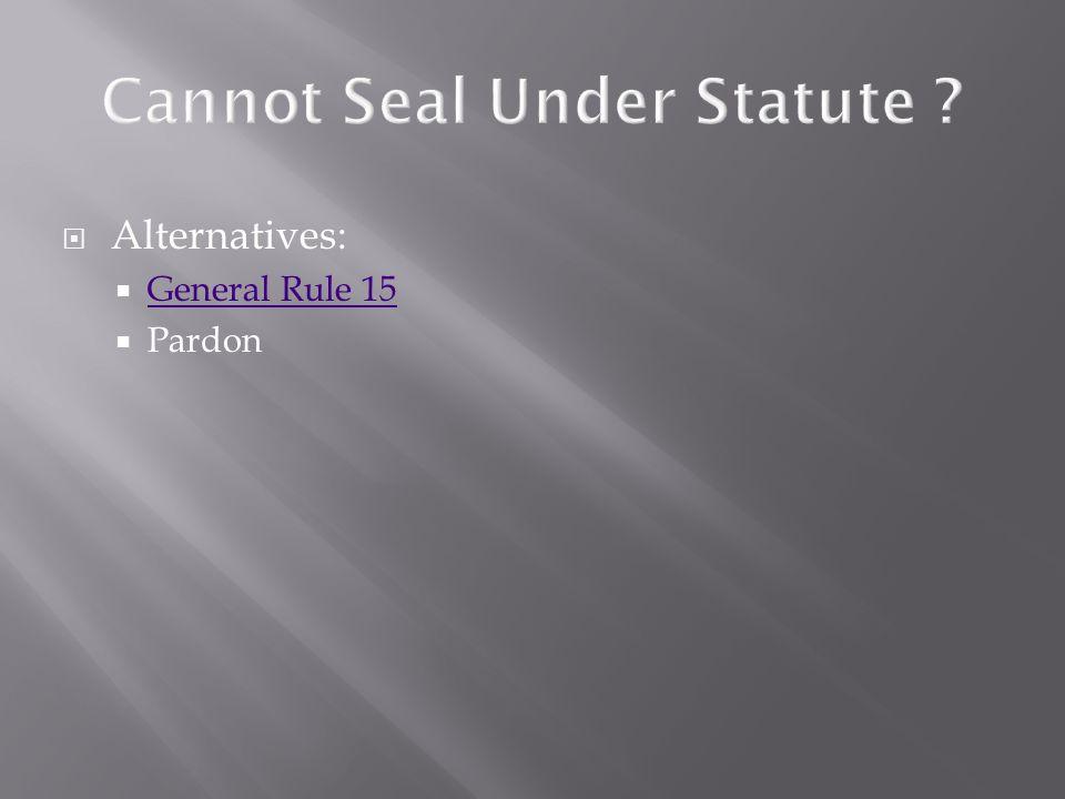  Alternatives:  General Rule 15 General Rule 15  Pardon