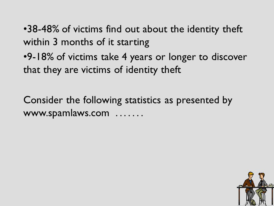 38-48% of victims find out about the identity theft within 3 months of it starting 9-18% of victims take 4 years or longer to discover that they are victims of identity theft Consider the following statistics as presented by www.spamlaws.com.......