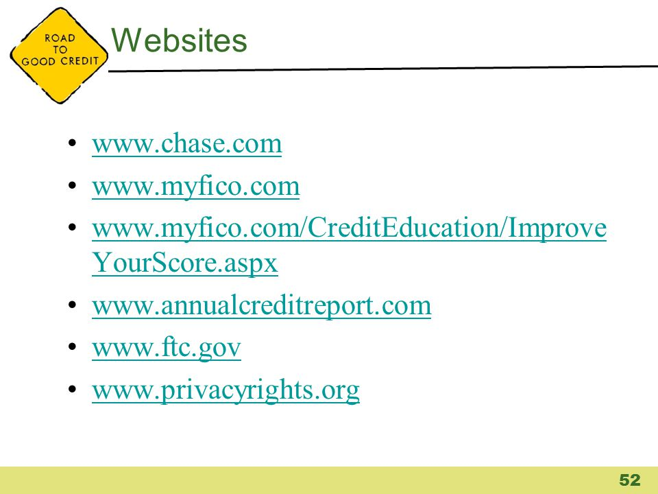 Websites www.chase.com www.myfico.com www.myfico.com/CreditEducation/Improve YourScore.aspxwww.myfico.com/CreditEducation/Improve YourScore.aspx www.a