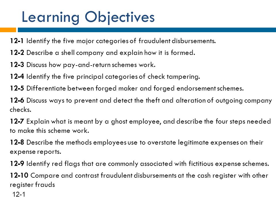 Learning Objectives 12-1 Identify the five major categories of fraudulent disbursements. 12-2 Describe a shell company and explain how it is formed. 1