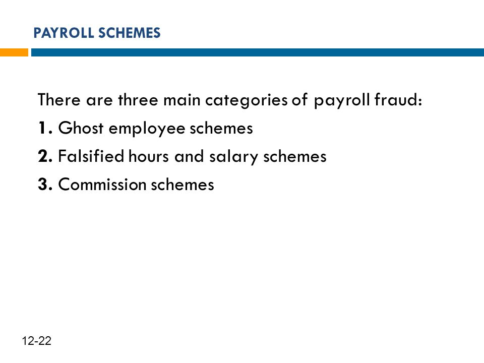 PAYROLL SCHEMES 23 12-22 There are three main categories of payroll fraud: 1. Ghost employee schemes 2. Falsified hours and salary schemes 3. Commissi