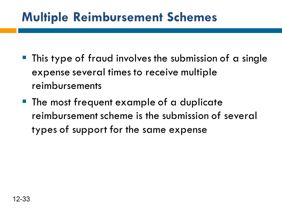 Multiple Reimbursement Schemes 34 12-33  This type of fraud involves the submission of a single expense several times to receive multiple reimburseme