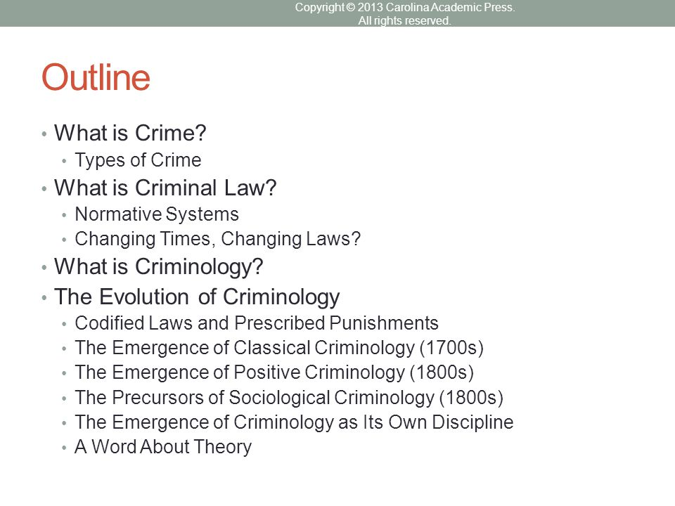 Outline What is Crime? Types of Crime What is Criminal Law? Normative Systems Changing Times, Changing Laws? What is Criminology? The Evolution of Cri