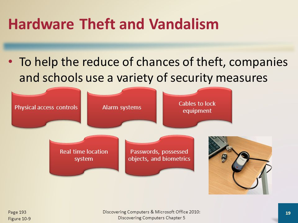 Hardware Theft and Vandalism To help the reduce of chances of theft, companies and schools use a variety of security measures Discovering Computers & Microsoft Office 2010: Discovering Computers Chapter 5 19 Page 193 Figure 10-9 Physical access controlsAlarm systems Cables to lock equipment Real time location system Passwords, possessed objects, and biometrics