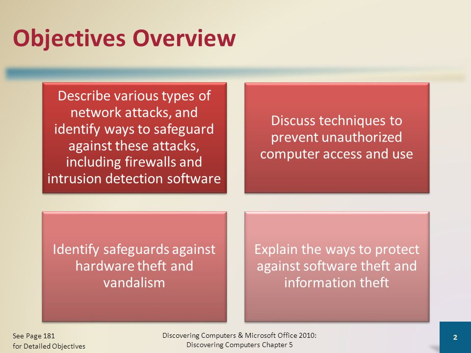 Objectives Overview Describe various types of network attacks, and identify ways to safeguard against these attacks, including firewalls and intrusion detection software Discuss techniques to prevent unauthorized computer access and use Identify safeguards against hardware theft and vandalism Explain the ways to protect against software theft and information theft Discovering Computers & Microsoft Office 2010: Discovering Computers Chapter 5 2 See Page 181 for Detailed Objectives