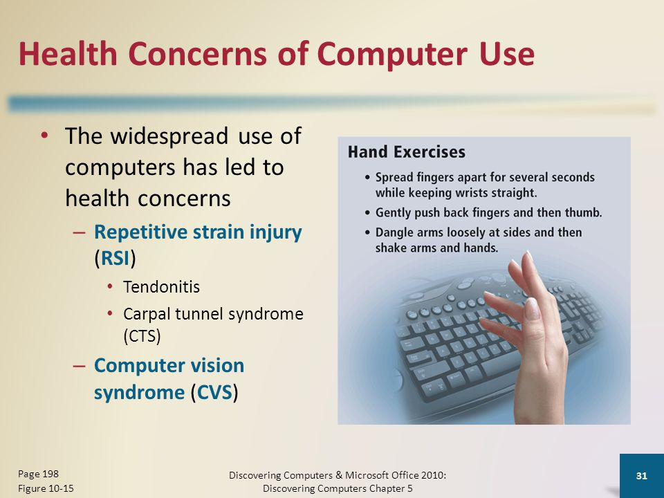 Health Concerns of Computer Use The widespread use of computers has led to health concerns – Repetitive strain injury (RSI) Tendonitis Carpal tunnel syndrome (CTS) – Computer vision syndrome (CVS) Discovering Computers & Microsoft Office 2010: Discovering Computers Chapter 5 31 Page 198 Figure 10-15