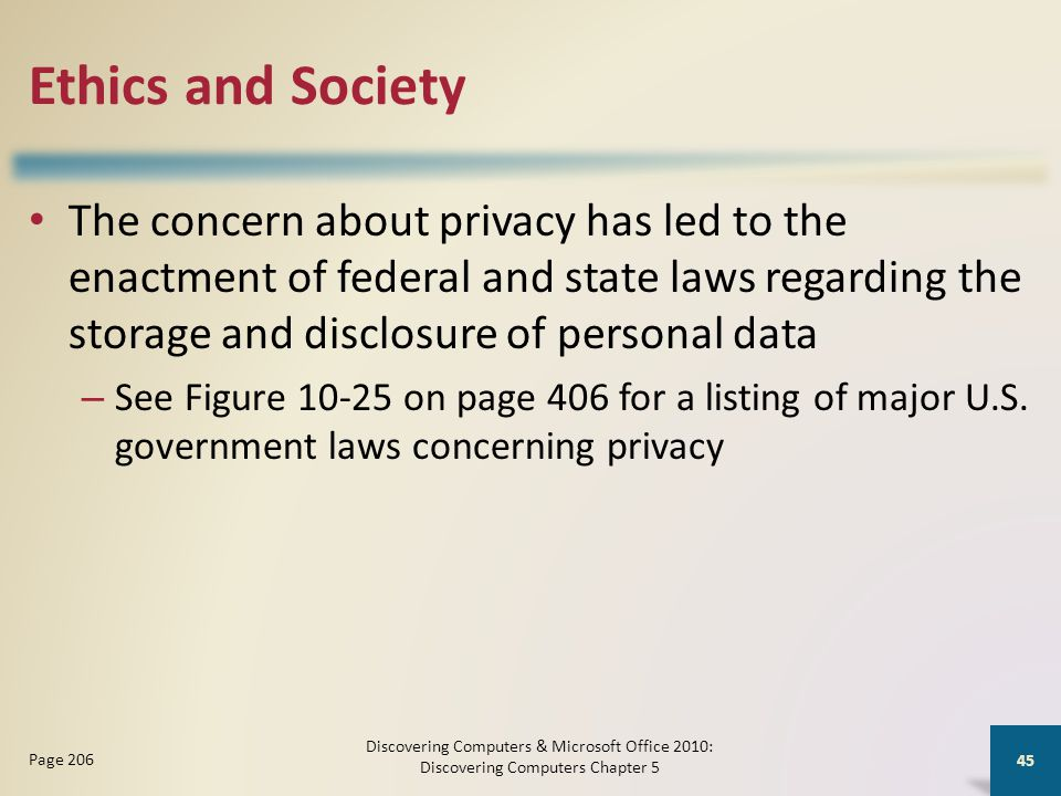Ethics and Society The concern about privacy has led to the enactment of federal and state laws regarding the storage and disclosure of personal data – See Figure 10-25 on page 406 for a listing of major U.S.