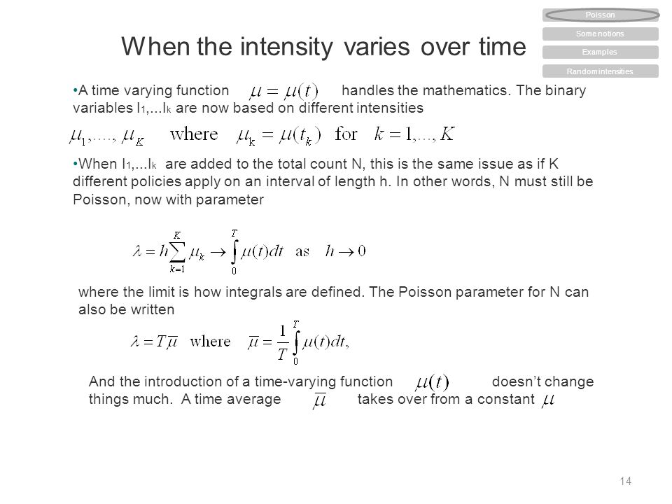 When the intensity varies over time 14 A time varying function handles the mathematics.
